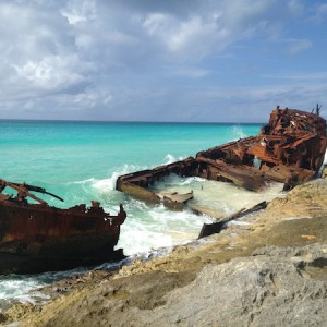 Ship marooned at the southern edge of North Bimini Island