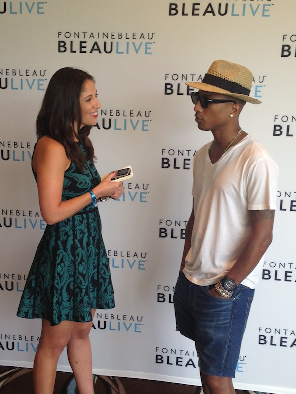 Interviewing Pharrell before his BleauLive performance at the Fontainebleau