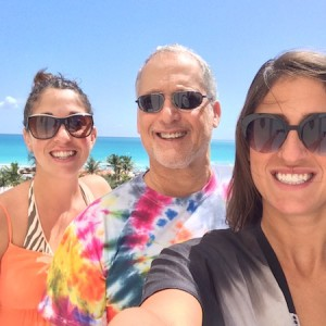 Shayne, Dad & Kristy on their balcony at Loews Miami Beach