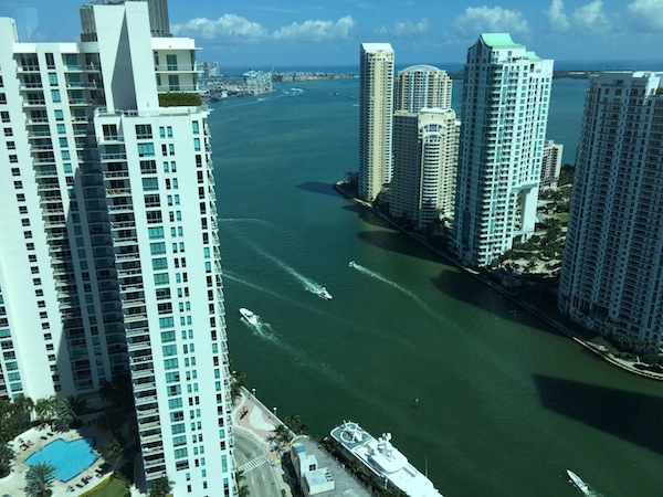 The view from a 37th floor suite. Note the yacht docked in the foreground. Yes, that's a helicopter on its aft deck.