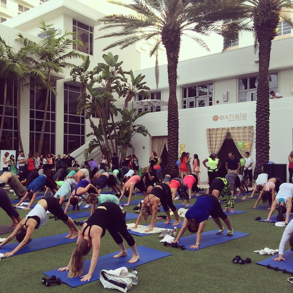 Yogis on the lawn at the newly opened Exhale Spa at the Loews Hotel South Beach