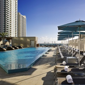 The pool deck at the Epic Hotel