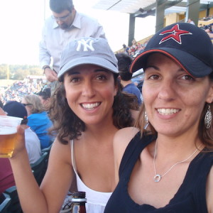 Rooting for our home teams at Spring Training in Florida with my friend Becky.
