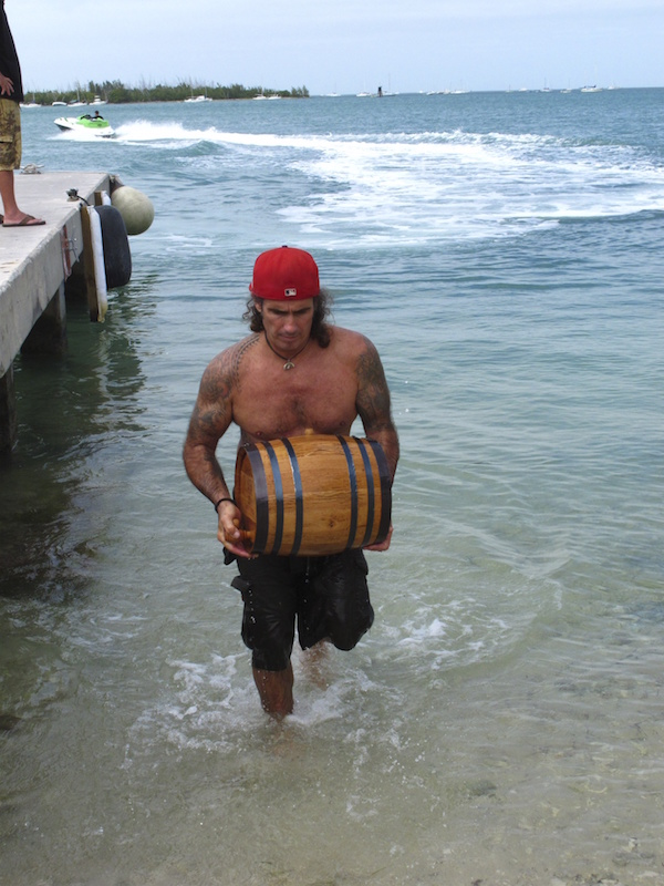 Paul Menta with his salt-soaked barrel of rum. Photo by Rick Iossi.