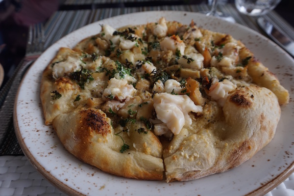 Lobster and conch pizza at Malliouhana's cliffside restaurant.