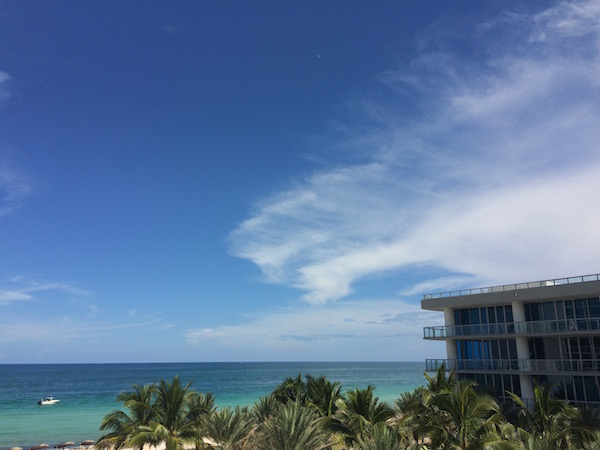 Beach views and blue skies from a guest room at the Carillon.