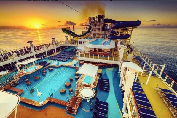 Sunrise over the fun decks on the Escape. Photo courtesy of NCL.