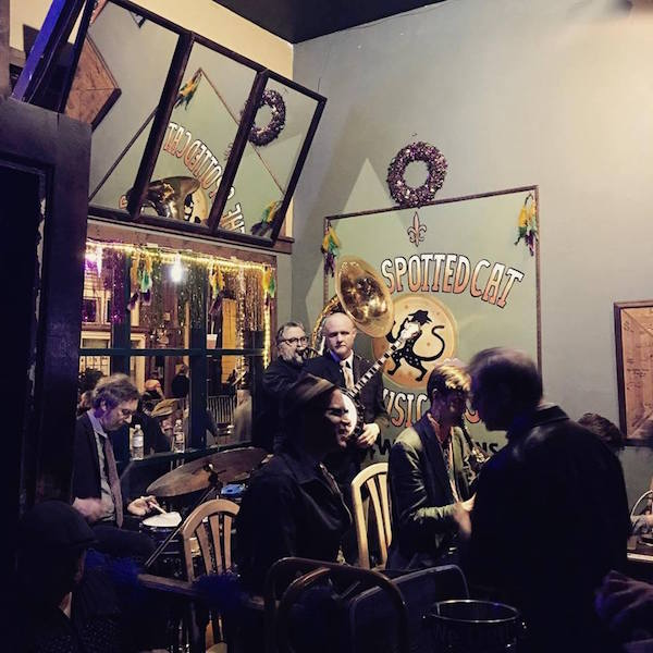 We caught this brass band at the Spotted Cat in the early evening. Photo by Krista Garabedian.