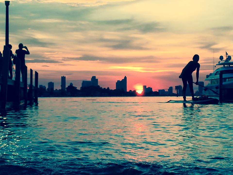 Sunset paddles with South Beach Kayak.